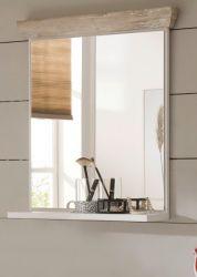 Badezimmer Spiegel Rovola in Pinie weiß / Oslo Pinie Landhaus Badspiegel mit Ablage 60 x 72 cm
