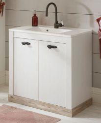 Waschbeckenunterschrank MIT Waschbecken Rovola in Pinie weiß / Oslo Pinie Landhaus Waschtisch Set 81 x 85 cm