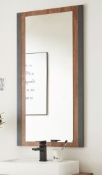 Badezimmer Spiegel Auburn in Eiche Stirling und Matera grau Badmöbel Wandspiegel 54 x 108 cm