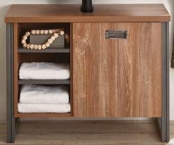 Badezimmer Waschbeckenunterschrank Auburn in Eiche Stirling und Matera grau Badmöbel Unterschrank 61 x 62 cm