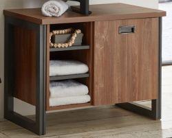 Badezimmer Waschbeckenunterschrank Auburn in Eiche Stirling und Matera grau Badmöbel Unterschrank 81 x 62 cm