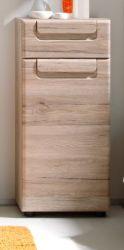 Badezimmer Kommode Malea in Eiche San Remo hell Badmöbel Unterschrank 37 x 82 cm