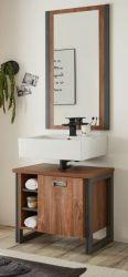 Badmöbel Set 2-teilig Auburn in Eiche Stirling und Matera grau Badkombination Waschbeckenunterschrank und Spiegel 61 x 205 cm
