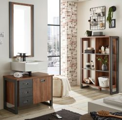 Badmöbel Set 3-teilig Auburn in Eiche Stirling und Matera grau Badkombination 191 x 205 cm