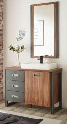 Badmöbel Set 3-teilig Auburn in Eiche Stirling und Matera grau Badkombination MIT Waschbecken 91 x 205 cm