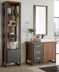 Badmöbel Set 4-teilig Auburn in Eiche Stirling und Matera grau Badkombination MIT Waschbecken 160 x 205 cm