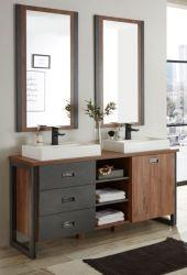 Badmöbel Set 5-teilig Auburn in Eiche Stirling und Matera grau Doppelwaschtisch inkl. 2 x Waschbecken 138 x 205 cm Badkombination