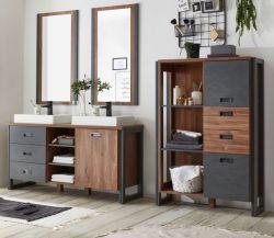 Badmöbel Set 6-teilig Auburn in Eiche Stirling und Matera grau Doppelwaschtisch inkl. 2 x Waschbecken 248 x 205 cm Badkombination