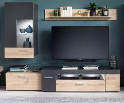 Wohnwand Bella in grau matt und Artisan Eiche Wohnkombination 3-teilig 217 x 168 cm