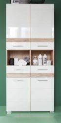 Badezimmer Hochschrank SetOne in Hochglanz weiß und Eiche San Remo Badschrank 73 x 182 cm Badmöbel