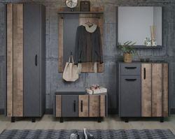Garderobenkombination Otis in Eiche Tabak und Matera grau Garderobe Set 5-teilig 260 x 192 cm