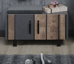 Garderobe Sitzbank Otis in Eiche Tabak und Matera grau Garderobenbank und Schuhschrank 87 x 45 cm