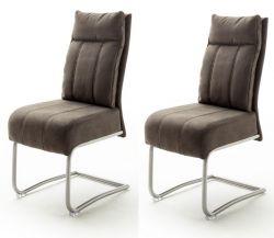 2 x Stuhl Azul in sand Antik-Look und Edelstahl Freischwinger mit Griff hinten Esszimmerstuhl 2er Set mit Komfortsitzhöhe