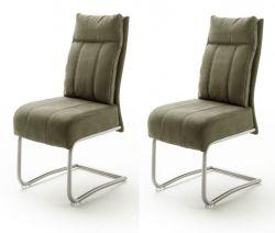 2 x Stuhl Azul in olive Antik-Look und Edelstahl Freischwinger mit Griff hinten Esszimmerstuhl 2er Set mit Komfortsitzhöhe