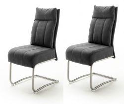 2 x Stuhl Azul in dunkelgrau Antik-Look und Edelstahl Freischwinger mit Griff hinten Esszimmerstuhl 2er Set mit Komfortsitzhöhe