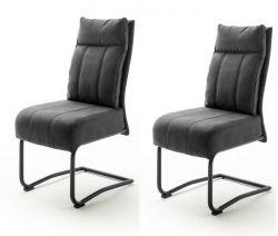 2 x Stuhl Azul in dunkelgrau Antik-Look Freischwinger mit Griff hinten Esszimmerstuhl 2er Set mit Komfortsitzhöhe