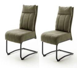 2 x Stuhl Azul in olive Antik-Look Freischwinger mit Griff hinten Esszimmerstuhl 2er Set mit Komfortsitzhöhe