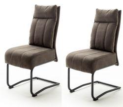2 x Stuhl Azul in sand Antik-Look Freischwinger mit Griff hinten Esszimmerstuhl 2er Set mit Komfortsitzhöhe
