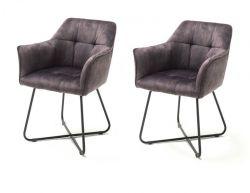2 x Stuhl Panama in anthrazit Vintage Velours-Optik mit Armlehne Esszimmerstuhl 2er Set mit Komfortsitzhöhe