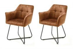 2 x Stuhl Panama in curry Vintage Velours-Optik mit Armlehne Esszimmerstuhl 2er Set mit Komfortsitzhöhe