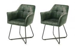 2 x Stuhl Panama in olive Vintage Velours-Optik mit Armlehne Esszimmerstuhl 2er Set mit Komfortsitzhöhe