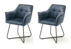 2 x Stuhl Panama in petrol Vintage Velours-Optik mit Armlehne Esszimmerstuhl 2er Set mit Komfortsitzhöhe