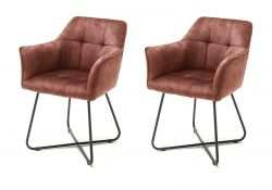 2 x Stuhl Panama in rostbraun Vintage Velours-Optik mit Armlehne Esszimmerstuhl 2er Set mit Komfortsitzhöhe