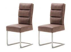 2 x Stuhl Rochester in cappuccino Antik-Look und Edelstahl Freischwinger mit Griff hinten Esszimmerstuhl 2er Set mit Komfortsitzhöhe