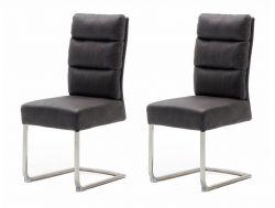 2 x Stuhl Rochester in grau Antik-Look und Edelstahl Freischwinger mit Griff hinten Esszimmerstuhl 2er Set mit Komfortsitzhöhe