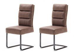 2 x Stuhl Rochester in cappuccino Antik-Look Freischwinger mit Griff hinten Esszimmerstuhl 2er Set mit Komfortsitzhöhe