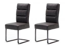 2 x Stuhl Rochester in grau Antik-Look Freischwinger mit Griff hinten Esszimmerstuhl 2er Set mit Komfortsitzhöhe