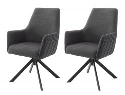 2 x Stuhl Reynosa in anthrazit Chenille-Optik 4-Fußstuhl 360° drehbar Esszimmerstuhl 2er Set mit Komfortsitzhöhe