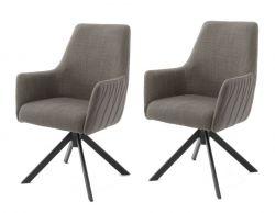 2 x Stuhl Reynosa in cappuccino Chenille-Optik 4-Fußstuhl 360° drehbar Esszimmerstuhl 2er Set mit Komfortsitzhöhe
