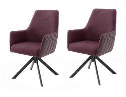 2 x Stuhl Reynosa in merlot Chenille-Optik 4-Fußstuhl 360° drehbar Esszimmerstuhl 2er Set mit Komfortsitzhöhe