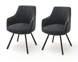 2 x Stuhl Sassello in anthrazit Chenille-Optik 4-Fußstuhl 180° drehbar Esszimmerstuhl 2er Set mit Komfortsitzhöhe