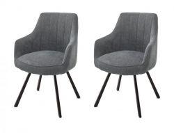 2 x Stuhl Sassello in grau Chenille-Optik 4-Fußstuhl 180° drehbar Esszimmerstuhl 2er Set mit Komfortsitzhöhe