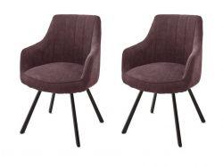 2 x Stuhl Sassello in merlot Chenille-Optik 4-Fußstuhl 180° drehbar Esszimmerstuhl 2er Set mit Komfortsitzhöhe