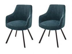 2 x Stuhl Sassello in petrol Chenille-Optik 4-Fußstuhl 180° drehbar Esszimmerstuhl 2er Set mit Komfortsitzhöhe