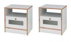 2 x Nachttisch in weiß und Bramberg Fichte Nachtkommode mit Schubkasten 45 x 47 cm
