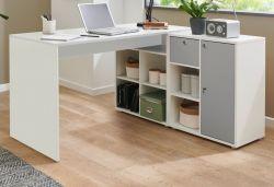 Schreibtisch in weiß und grau Eckschreibtisch mit Stauraum abschließbar 138 x 138 cm