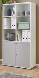 Aktenschrank in weiß und grau Büro Regal abschließbar 90 x 180 cm