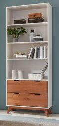 Bücherregal in weiß und Skandinavien Kiefer massiv Regal 80 x 205 cm