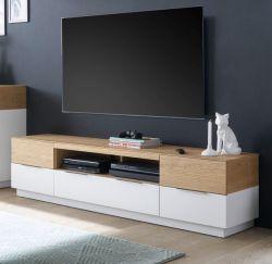 TV-Lowboard Dubai in weiß matt lackiert und Eiche massiv TV Board 182 x 46 cm