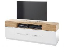 TV-Lowboard Dubai in weiß matt lackiert und Eiche massiv TV Board in Komforthöhe 182 x 63 cm