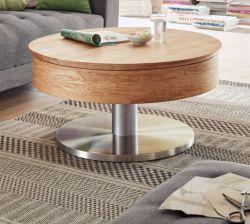 Couchtisch Suva in Asteiche Beistelltisch mit drehbarer Tischplatte und Edelstahl rund Ø 79 cm