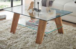 Couchtisch Lublin in Glas und Asteiche massiv geölt Beistelltisch rechteckig 100 x 65 cm