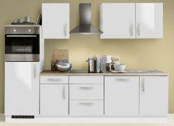 Küchenblock Einbauküche White Premium weiß Hochglanz Lack inkl. E-Geräte Herd + Backofen autark 280 cm
