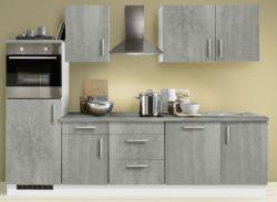 Küchenblock Einbauküche White Premium Beton-Optik inkl. E-Geräte Herd + Backofen autark 280 cm