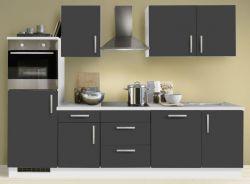 Küchenblock Einbauküche White Premium Schiefer grau inkl. E-Geräte Herd + Backofen autark 280 cm