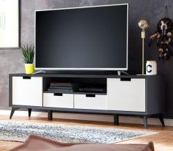 TV-Lowboard Netanja in grau und weiß matt lackiert TV Board mit Wechselfronten und Türen 180° drehbar 180 x 55 cm